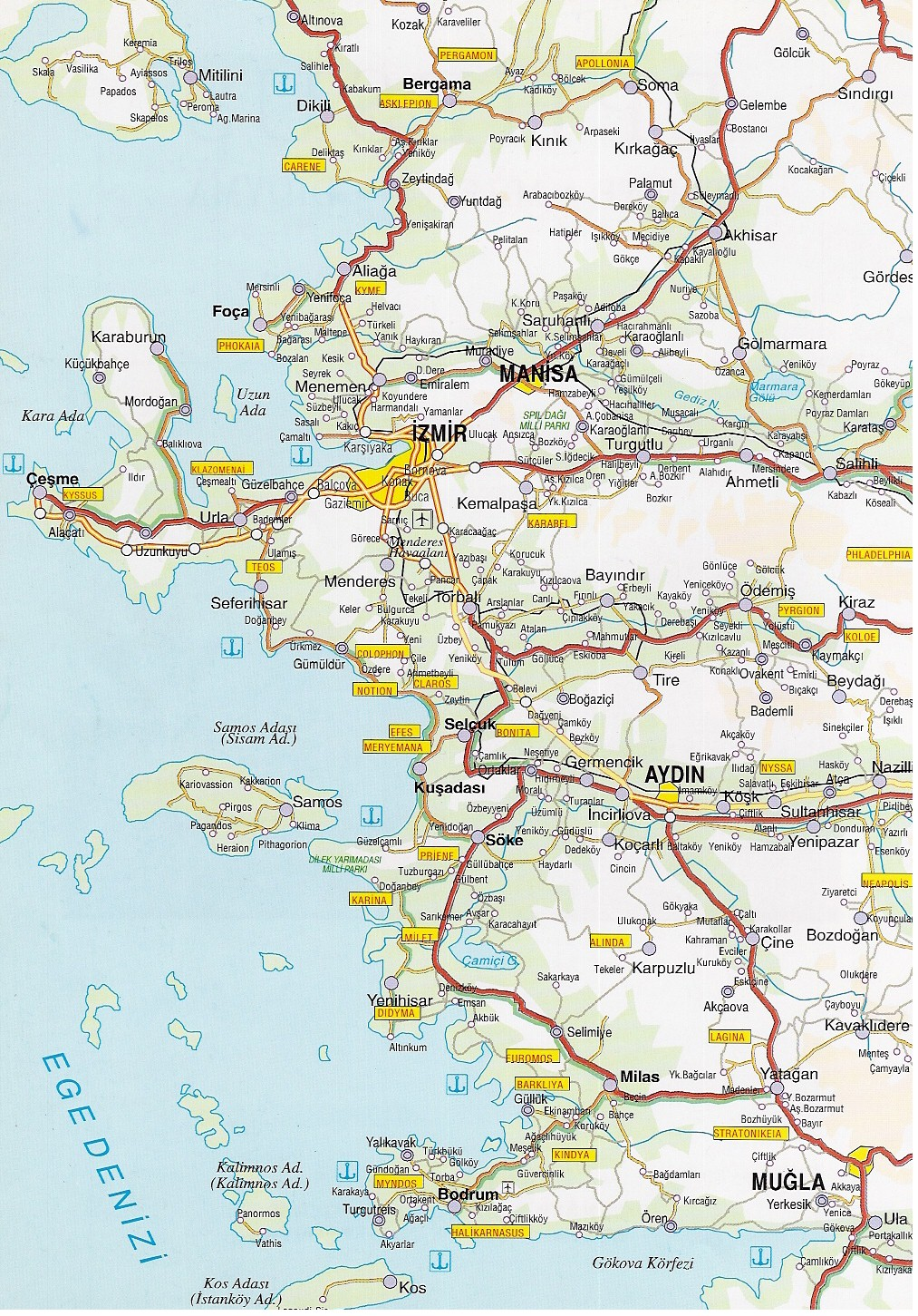 Map of izmir turkey aegean coast bodrum marmaris cesme