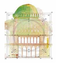 Just like the entire Hagia Sophia, the south wall is also based on the proportions of a double circle and a double square